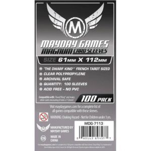 "Fundas Mayday: Magnum Platinum Card Sleeve: 61×112 ""Dwarf King"" French Tarot (100u) (7113)"