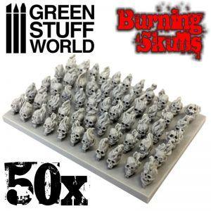 50x Craneos Llameantes De Resina
