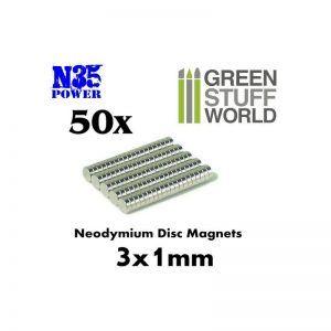 Imanes Neodimio 3x1mm – 50 Unidades (N35)