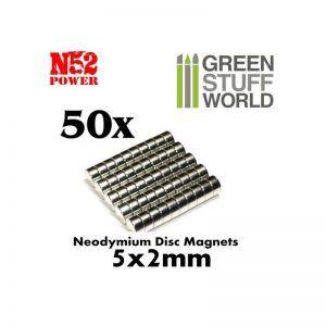 Imanes Neodimio 5x2mm – 50 Unidades (N52)