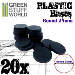 Peanas De Plástico – Redondas 25mm NEGRO