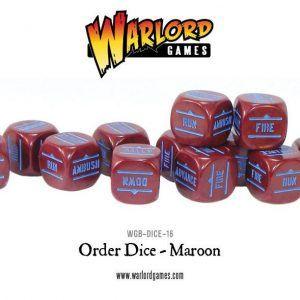 Bolt Action: Order Dice Pack – Dados De órdenes (12) – Maroon