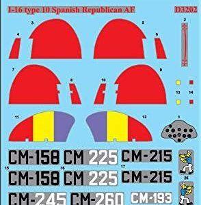 1:32 ICM:  I-16 Type 10 Spanish Republic AF (Decals) – Calcas